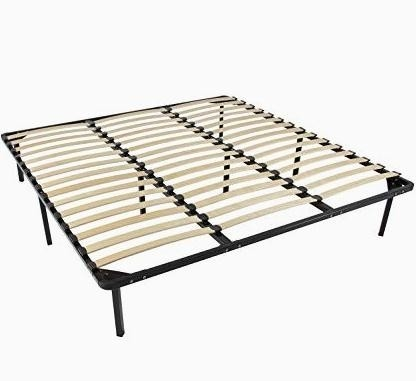 Carbon Steel Metal Bed Frame With Slats , Simple Double Mattress Frame Bedstead